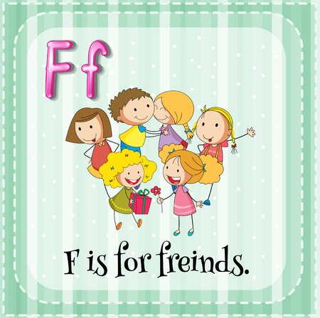 Illustration of a letter F is for friends Vector
