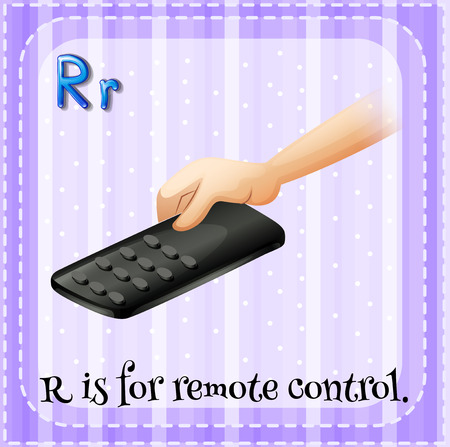 which: A letter R which stands for remote control