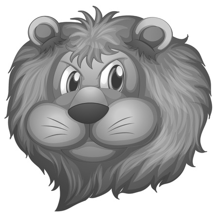 nose close up: Illustration of a single lion head