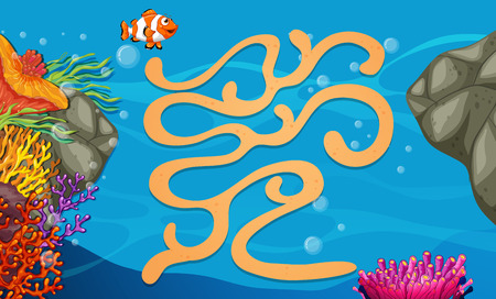 Illustration of a maze game with underwater background