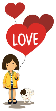 Illustration of a girl holding a love balloons Vector