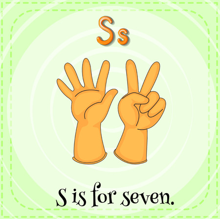children s art: A letter S which stands for seven Illustration