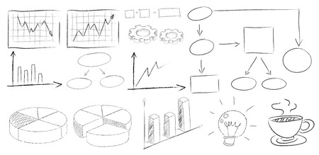 Illustration of drawing of many kind of charts Vector