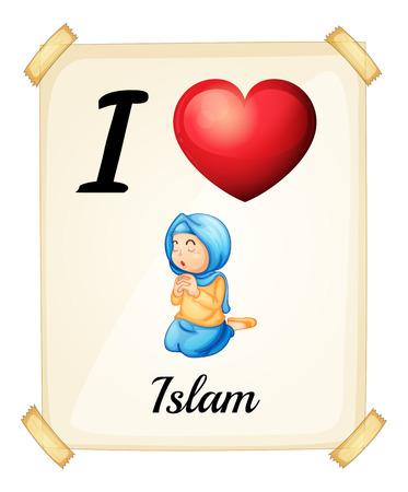 preference: Illustration of I love Islam sign Illustration