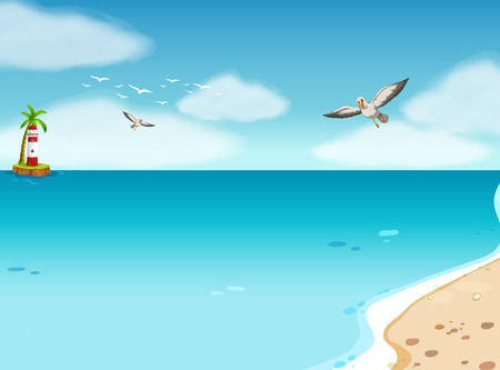 Illustration of an ocean view at daytime Vector