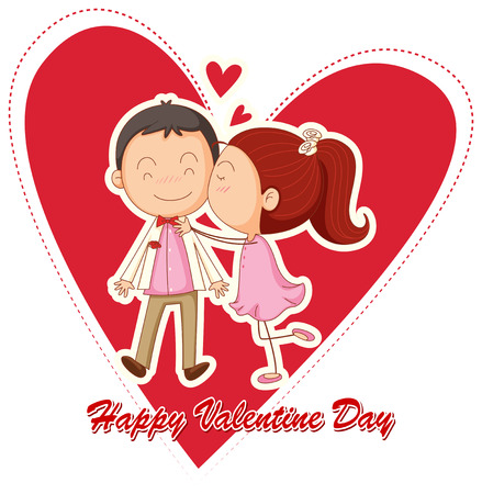 lovers kissing: Illustration of lovers kissing on valentine day Illustration