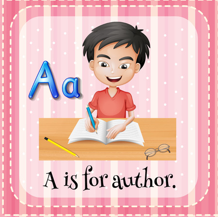 write a letter: Illustration of a letter A is for author