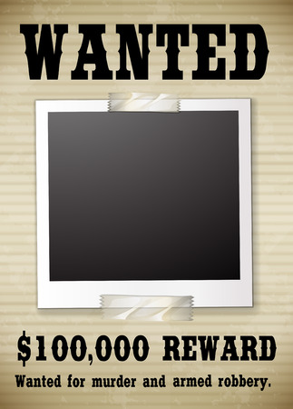 wanted poster: A wanted poster showing a reward money