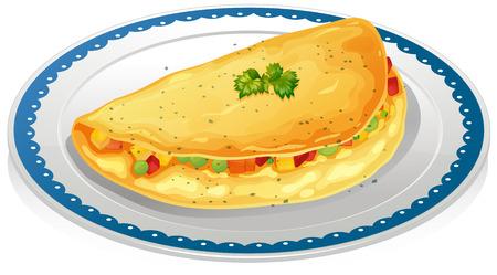 omelet: Illustration of a plate of omelet Illustration