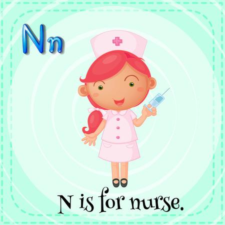 nurse injection: Illustration of a letter N is for nurse