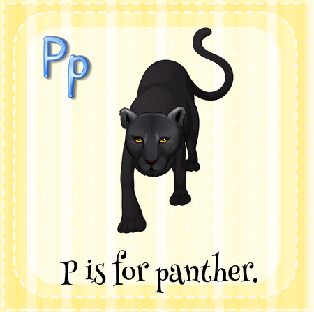 Illustration of a letter p is for panter Çizim