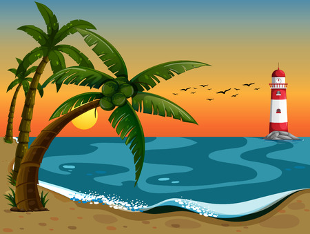 Illustration of a beautiful view of the ocean with the lighthouse Vector