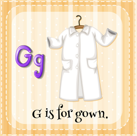 cartoon words: A letter G which stands for gown