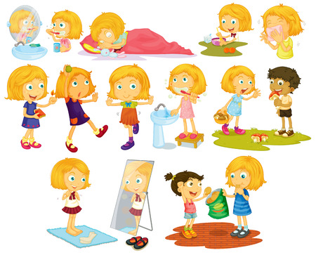 white teeth: Illustration of different poses of a blond hair girl Illustration