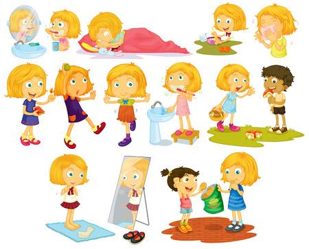 dientes caricatura: Ilustraci�n de diferentes poses de una ni�a de pelo rubio