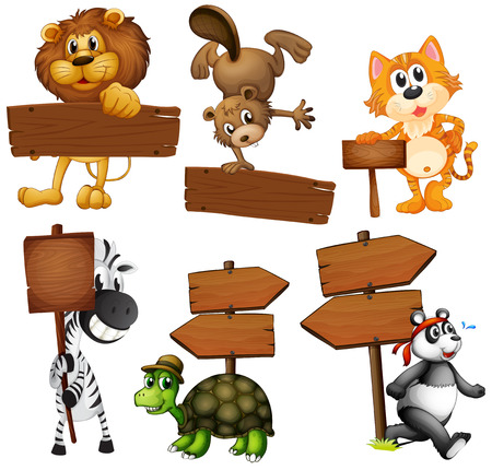 lion drawing: Animals with signboards on a white background