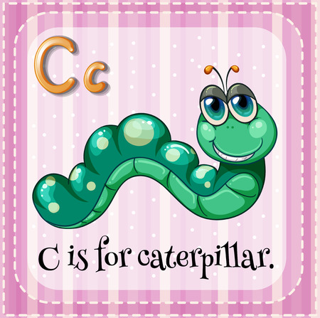Illustration of a letter C is for caterpillar Vector