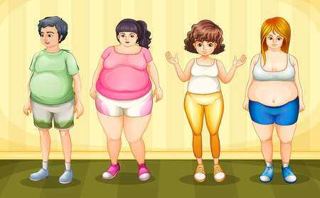 Illustration of four fat people standing Vector