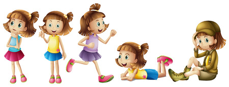 Five adorable kids on a white background Vector
