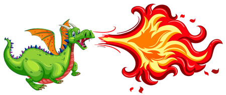 flying dragon: Illustration of a dragon blowing fire