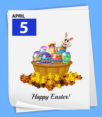 Illustration of a calendar on Easter Day Vector