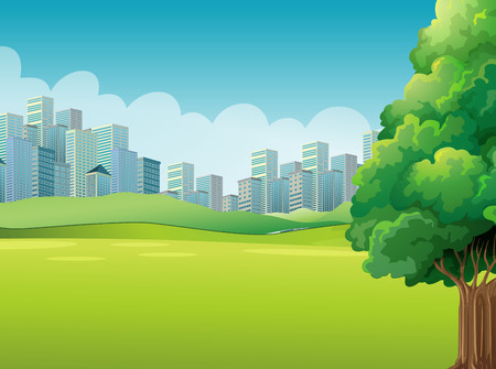 cartoon land: A green landscape across the tall buildings