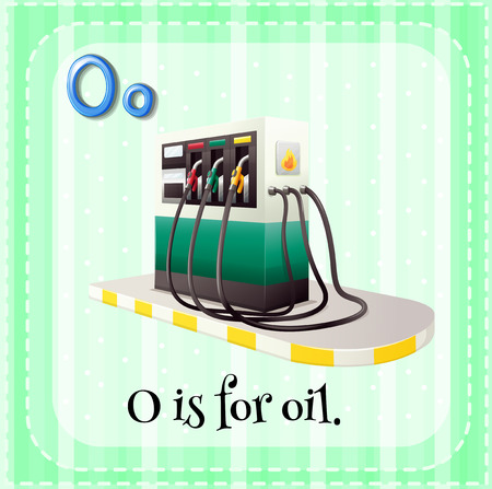 linguistic: Illustration of a letter O is for oil