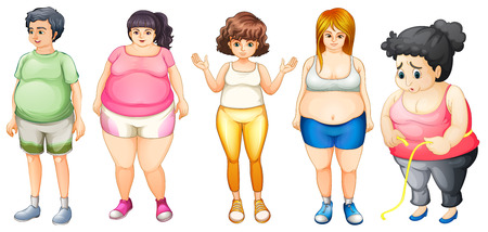 Illustration of many fat people standing Vector