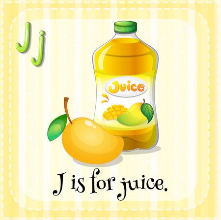 letter j: Illustration of a letter j is for juice