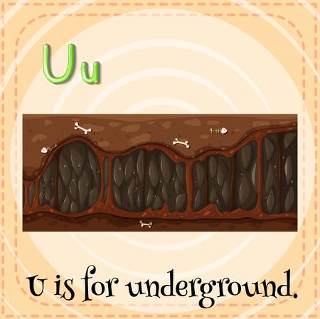 letter u: Illustration of a letter U is for underground