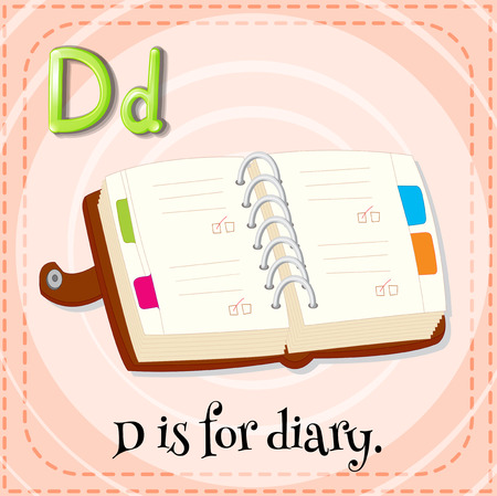 linguistic: Illustration of a letter D is for diary