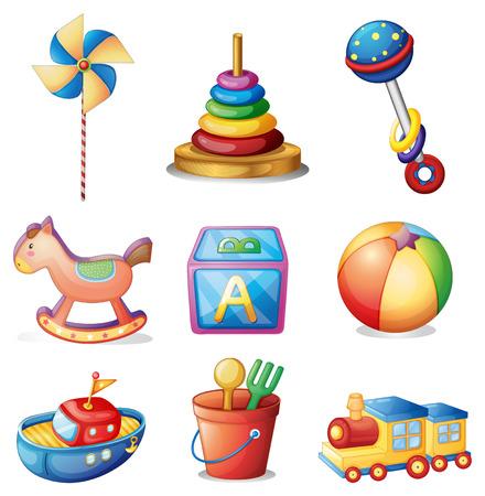 cartoon wood bucket: Illustration of different kind of toys
