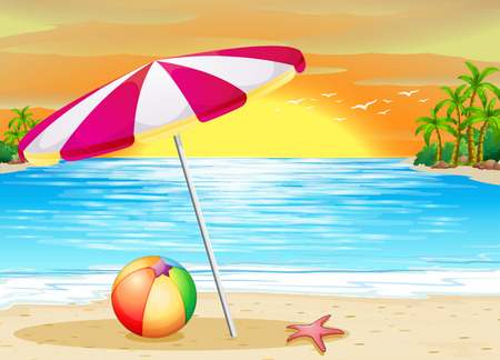 sun beach: Illustration of a beautiful scene of a beach at sunset