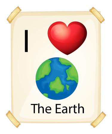rectangulo: Un cartel que muestra el amor por la tierra en un fondo blanco