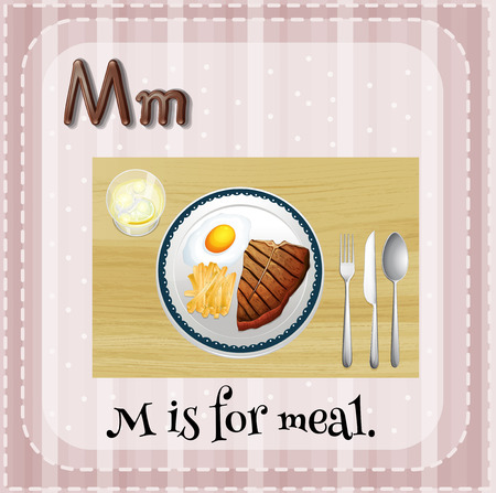Illustration of a letter M is for meal Vector