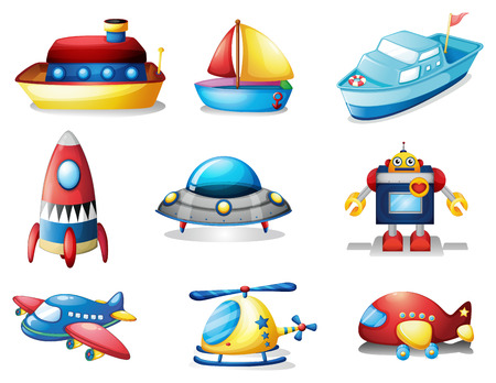 toy plane: Illustration of different kind of toys