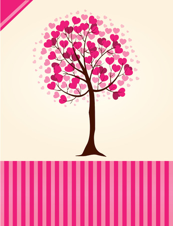 Illustration of a tree full of hearts Vector