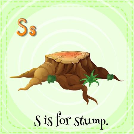 children s: Illustration of a letter S is for stump