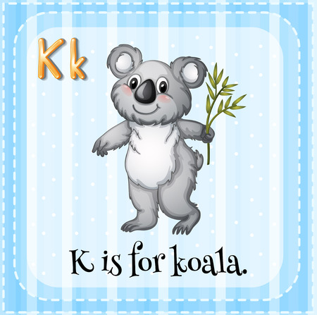 Illustration of a letter K is for koala Vector