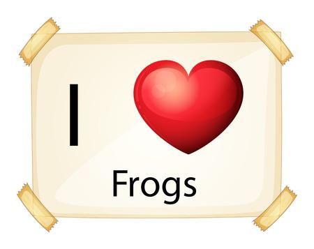 rectangulo: Un cartel que muestra el amor de ranas en un fondo blanco