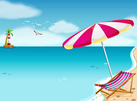 folding chair: A breathtaking beach scenery Illustration