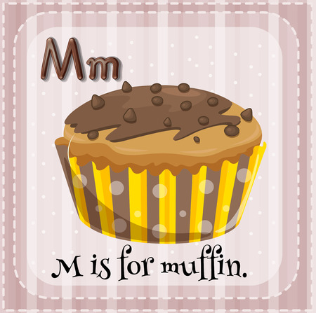 Illustration of a letter M is for muffin Vector