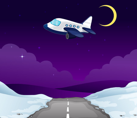 manmade: An airplane above the road Illustration