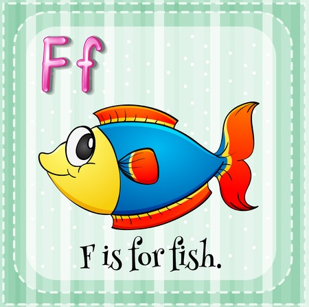 Illustration of a letter F is for fish Vector