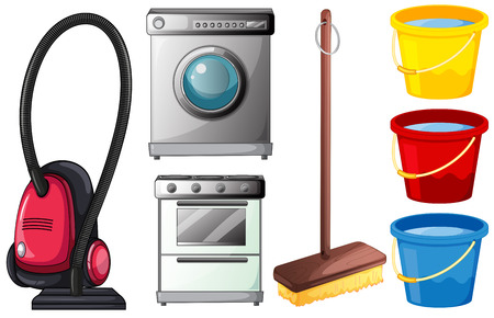 household chores: Illustration of a set of cleaning equipments