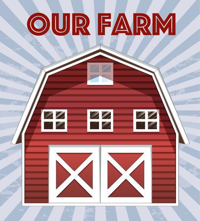 barn door: Illustration of a farm poster