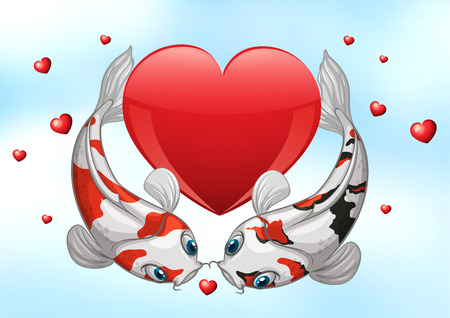 koi: Illustration of two kois with hearts background