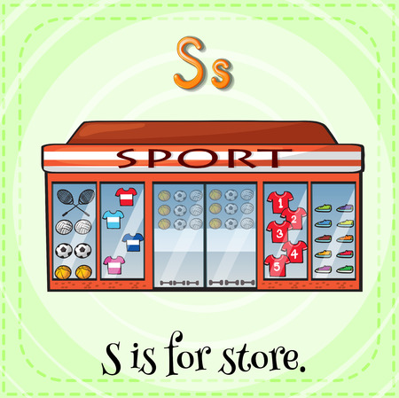 linguistic: Illustration of a letter S is for store