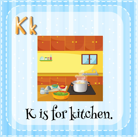 Illustration of an alphabet K is for kitchen Vector