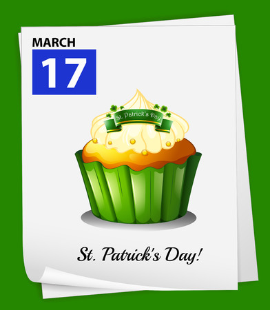 march 17: A poster showing March 17 on a green background Illustration
